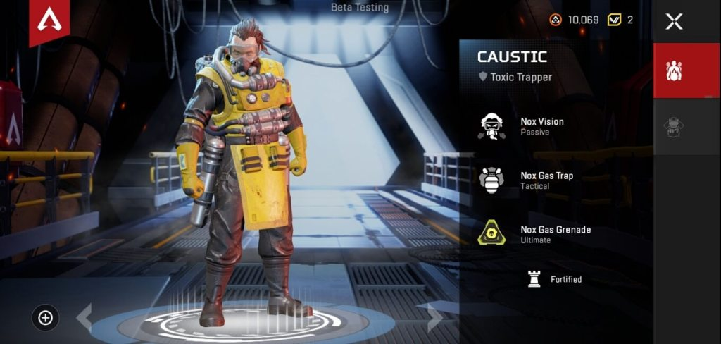 Caustic character apex legends mobile